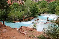 OCT 6, 2016: Havasu falls spills into the water pools below in Supai, Arizona, Richey Miller/CSM(Credit Image: © Richey Miller/Cal Sport Media)
