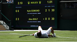 Alex Bolt on the ground on day two of the Wimbledon Championships at the All England Lawn Tennis and Croquet Club, Wimbledon. PRESS ASSOCIATION Photo. Picture date: Tuesday July 3, 2018. See PA story TENNIS Wimbledon. Photo credit should read: Jonathan Brady/PA Wire. RESTRICTIONS: Editorial use only. No commercial use without prior written consent of the AELTC. Still image use only - no moving images to emulate broadcast. No superimposing or removal of sponsor/ad logos. Call +44 (0)1158 447447 for further information.