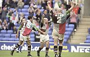 Reading, England, Celebration, at the final whistle,  European Shield Final, at the Madeski Stadium, NEC Harlequins v RC Narbonne.<br /> [Mandatory Credit, Peter Spurrier/ Intersport Images].