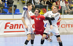06.01.2017, BSFZ Suedstadt, Maria Enzersdorf, AUT, IHF Junior WM 2017 Qualifikation, Ungarn vs Österreich, im Bild Vincent Schweiger (AUT) // during the IHF Men's Junior World Championships qualifying match between Hungary and Austria at the BSFZ Suedstadt, Maria Enzersdorf, Austria on 2017/01/06, EXPA Pictures © 2017, PhotoCredit: EXPA/ Sebastian Pucher