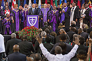 U.S. President Barack Obama sings Amazing Grace during the eulogy at the funeral of slain State Senator Clementa Pinckney at the TD Arena June 24, 2015 in Charleston, South Carolina. Pinckney is one of the nine people killed in last weeks Charleston church massacre.