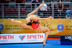 September 14, 2018 - Sofia, Bulgaria - Linoy Ashram of Israel   during  Individual All-Around Final at the Arena Armeec in Sofia at the 36th FIG Rhythmic Gymnastics World Championships  on 14/9/2018. (Credit Image: © Ulrik Pedersen/NurPhoto/ZUMA Press)