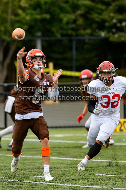 CHILLIWACK, BC - SEPTEMBER 11: Dominic Britton #5 of Okanagan Sun throws the ball during the first quarter against the Westshore Rebels at Exhibition Stadium in Chilliwack, BC, Canada. (Photo by Marissa Baecker/Shoot the Breeze)