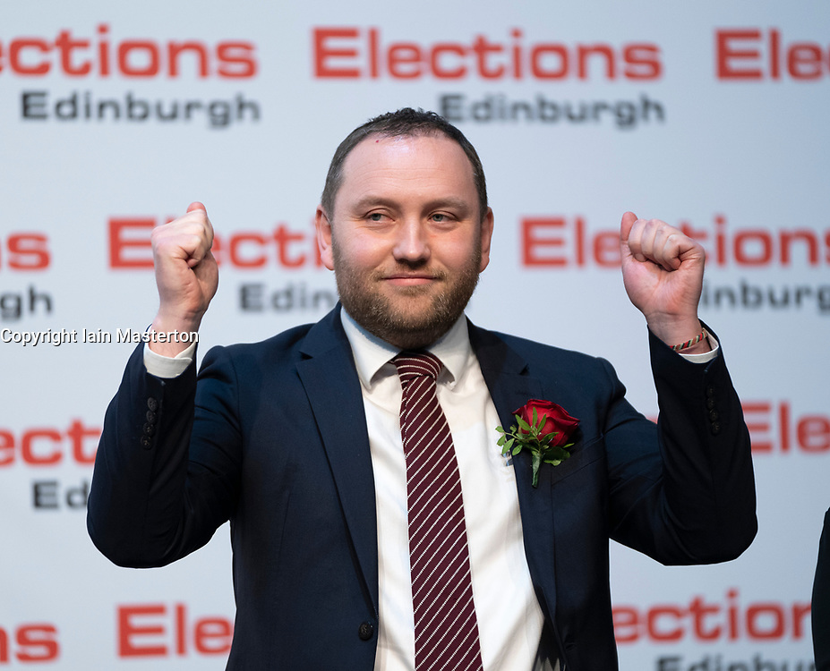 Edinburgh, Scotland, UK. 12th December 2019.Ian Murray MP for Edinburgh South reacts after winning Edinburgh East at Parliamentary General Election Count at the Royal Highland Centre in Edinburgh. Iain Masterton/Alamy Live News