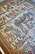 Roman mosaic floor of the Room of The Small Hunt, no 25 - Roman mosaics at the Villa Romana del Casale ,  circa the first quarter of the 4th century AD. Sicily, Italy. A UNESCO World Heritage Site. .<br /> <br /> If you prefer to buy from our ALAMY PHOTO LIBRARY  Collection visit : https://www.alamy.com/portfolio/paul-williams-funkystock/villaromanadelcasale.html<br /> Visit our ROMAN MOSAICS PHOTO COLLECTIONS for more photos to buy as buy as wall art prints https://funkystock.photoshelter.com/gallery/Roman-Mosaics-Roman-Mosaic-Pictures-Photos-and-Images-Fotos/G00008dLtP71H_yc/C0000q_tZnliJD08