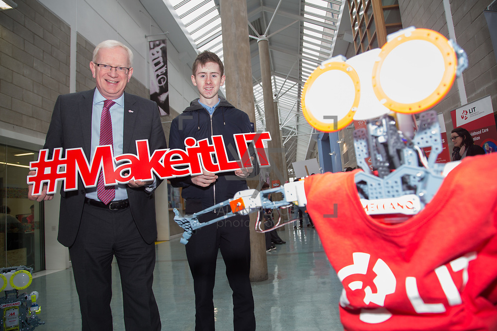 20.10.17.            <br /> Enjoying the LIT (Limerick School of Technology) open day were, Prof Vincent Cunnane, President LIT and Darragh Geaney, Neagh College. Picture: Alan Place