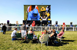 16/06/2010..Members of the public watch a giant TV screen featuring the racing hapeening behind them at Ascot Racecourse...Over the past 300 years Royal Ascot has established itself as a national institution and the centrepiece of the British social calendar as well as being the ultimate stage for the best racehorses in the world...