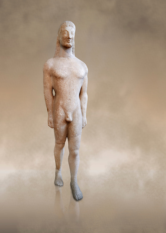 Naxian marble Ancient Greek Archaic statue of a kouros, found on Thera, circa 590-570 BC BC, Athens National Archaeological Museum. Cat no 8.<br /> <br /> This statue is typical of a Thera island workshop .<br /> <br /> If you prefer to buy from our ALAMY STOCK LIBRARY page at https://www.alamy.com/portfolio/paul-williams-funkystock/greco-roman-sculptures.html . Type -    Athens    - into LOWER SEARCH WITHIN GALLERY box - Refine search by adding a subject, place, background colour, etc.<br /> <br /> Visit our ROMAN WORLD PHOTO COLLECTIONS for more photos to download or buy as wall art prints https://funkystock.photoshelter.com/gallery-collection/The-Romans-Art-Artefacts-Antiquities-Historic-Sites-Pictures-Images/C0000r2uLJJo9_s0