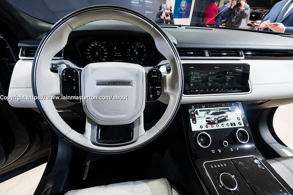 Detail of interior of new Land Rover Velar luxury SUV on launch day at Geneva International Motor Show 2017