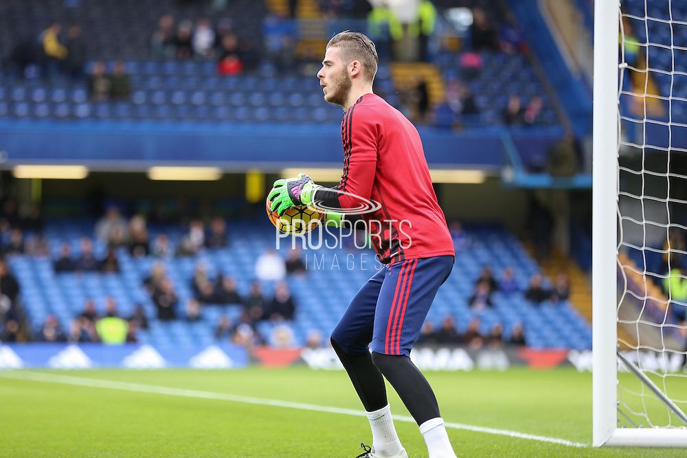 David De Gea of Manchester United in the warm up during the Barclays Premier League match between Chelsea and Manchester United at Stamford Bridge, London, England on 7 February 2016. Photo by Phil Duncan.