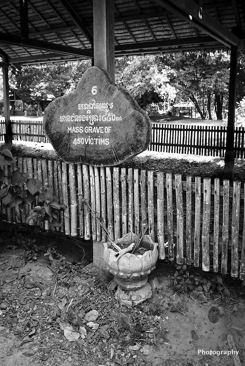 A mass grave of 450 victims at Choeung Ek, 17 km South of Phnom Penh, Cambodia