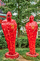 Beijing , China - September 23, 2014 :  statues sculpture in the streets of the 798 Art District zone aera in Beijing China