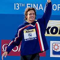 Ryan Lochte (USA) celebrates during the award ceremony after winning the 200 m Men's Individual Medley Swimming competition during the 13th FINA Swimming World Championships held in Rome, Italy. Thursday, 30. July 2009. ATTILA VOLGYI