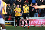 Padraig Amond of Newport county (l) celebrates after he scores his teams 1st goal. EFL Skybet football league two match, Newport county v Exeter City  at Rodney Parade in Newport, South Wales on New Years Day, Monday 1st January 2018.<br /> pic by Andrew Orchard,  Andrew Orchard sports photography.