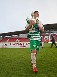 WREXHAM, WALES - Monday, May 2, 2016: The New Saints' goal-scorer Ryan Brobbel celebrates with the trophy after the 2-0 victory over Airbus UK Broughton during the 129th Welsh Cup Final at the Racecourse Ground. (Pic by David Rawcliffe/Propaganda)