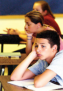 The first day of high school for freshman at Riverside Brookfield High School, in this case front, Dan Tyminski, and behind, Chrissie Engel enjoy their first day of Alegbra with Mr. Yurek.