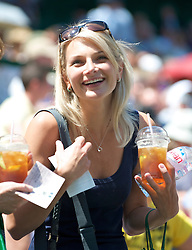 LONDON, ENGLAND - Wednesday, July 1, 2009: A tennis fan with a drink of Pims before the Gentlemen's Singles Quarterfinal on day nine of the Wimbledon Lawn Tennis Championships at the All England Lawn Tennis and Croquet Club. (Pic by David Rawcliffe/Propaganda)
