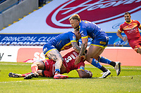 Rugby League - 2020 Super League - Round 13 - Warrington Wolves vs Catalan Dragon<br /> <br /> Catalans Dragons's Samisoni Langi scores his sides second try,   at the Halliwell Jones Stadium, Warrington<br /> <br /> <br /> COLORSPORT/TERRY DONNELLY