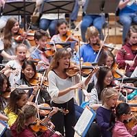 National Childrens Orchestra performing at The Royal Concert Hall, Glasgow with special guests - Nicola Benedetti and Wynton Marsalis, conducted by Roger Clarkson. Picture Drew Farrell. Tel : 07721-735041<br /> <br /> 14th August 2015<br /> <br /> This image is free to use in the promotion of the NCO. All other uses may be subject to a fee.