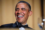 President Barack Obama reacts to a joke told by comedian Conan O'Brien during the White House Correspondents' Association (WHCA) in Washington, District of Columbia, U.S., on Saturday, April 27, 2013. Photographer: Pete Marovich/Bloomberg