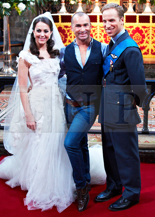 STRICT EMBARGO TO 00:01 FRIDAY 15 APRIL 2011 © licensed to London News Pictures. LONDON, UK  12/04/11. Katherine Middleton and Prince William with Louis Spence. The filming of a new T-Mobile advert in which Kate Middleton and Prince William lookalikes pretend to get married at a mock royal wedding. The filming took place at St Bartholomew the Great Church in London. All the main royal family members and the Arch Bishop of Canterbury were played by actors. The actors danced down the aisle with moves choreographed by Louie Spence. Please see special instructions. Photo credit should read Cliff Hide/LNP.
