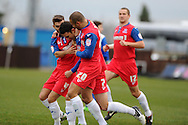Gillingham players mob goal scorer Chris Whelpdale © as they celebrate his opening goal. NPower league two match, Bristol Rovers v Gillingham at the Memorial stadium in Bristol on Saturday 5th Jan 2013. pic by Andrew Orchard, Andrew Orchard sports photography,