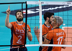 Yannick van Harskamp #2, Rob Bontje #17, Niels Klapwijk #14 during volleyball match between National teams of Netherlands and Slovenia in Playoff of 2015 CEV Volleyball European Championship - Men, on October 13, 2015 in Arena Armeec, Sofia, Bulgaria. Photo by Ronald Hoogendoorn / Sportida