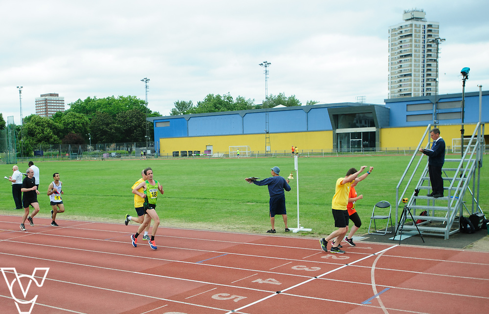 Event: 5000 meter relay<br /> Competitors, from left: Noel Thatcher<br /> <br /> Metro Blind Sport's 42nd Athletics Open, held at Mile End Stadium, Tower Hamlets, London.<br /> <br /> Picture: Chris Vaughan Photography for Metro Blind Sports<br /> Date: June 16, 2018