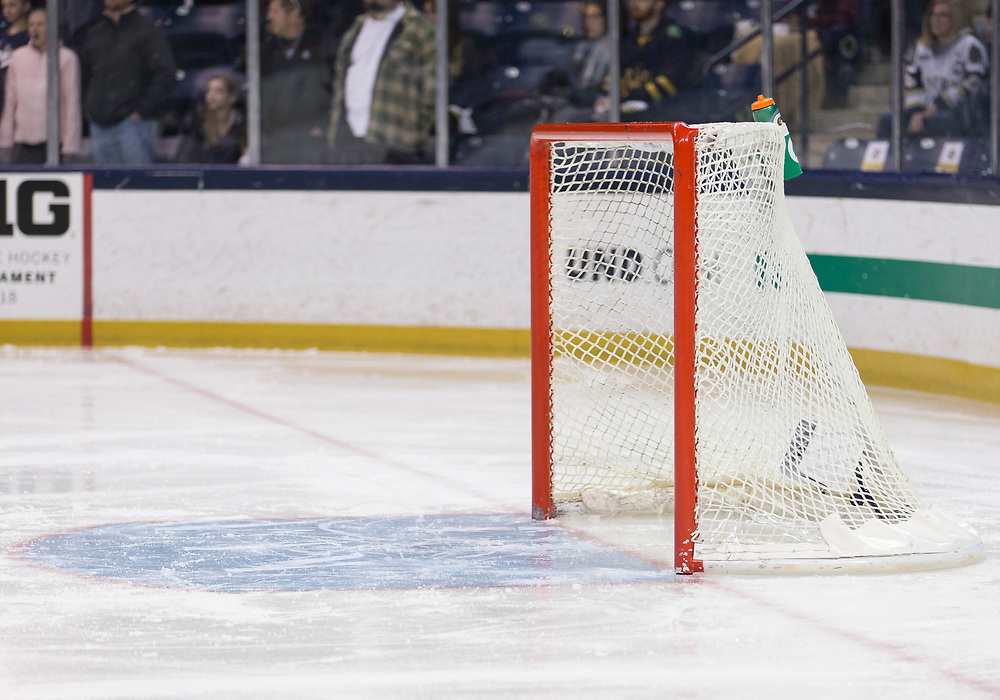March 10, 2018:  A general view of the net prior to NCAA Hockey game action between the Notre Dame Fighting Irish and the Penn State Nittany Lions at Compton Family Ice Arena in South Bend, Indiana.  Notre Dame defeated Penn State 3-2.  John Mersits/CSM