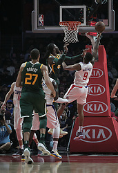 January 16, 2019 - Los Angeles, California, United States of America - Tyrone Wallace #9 of the Los Angeles Clippers puts up a shot during their NBA game with the Utah Jazz on Wednesday January 16, 2019 at the Staples Center in Los Angeles, California. Clippers lose to Jazz, 129-109. JAVIER ROJAS/PI (Credit Image: © Prensa Internacional via ZUMA Wire)