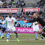 NEW YORK, NEW YORK - March 18:  Goalkeeper Evan Bush #1 of Montreal Impact in action during the New York City FC Vs Montreal Impact regular season MLS game at Yankee Stadium on March 18, 2017 in New York City. (Photo by Tim Clayton/Corbis via Getty Images)