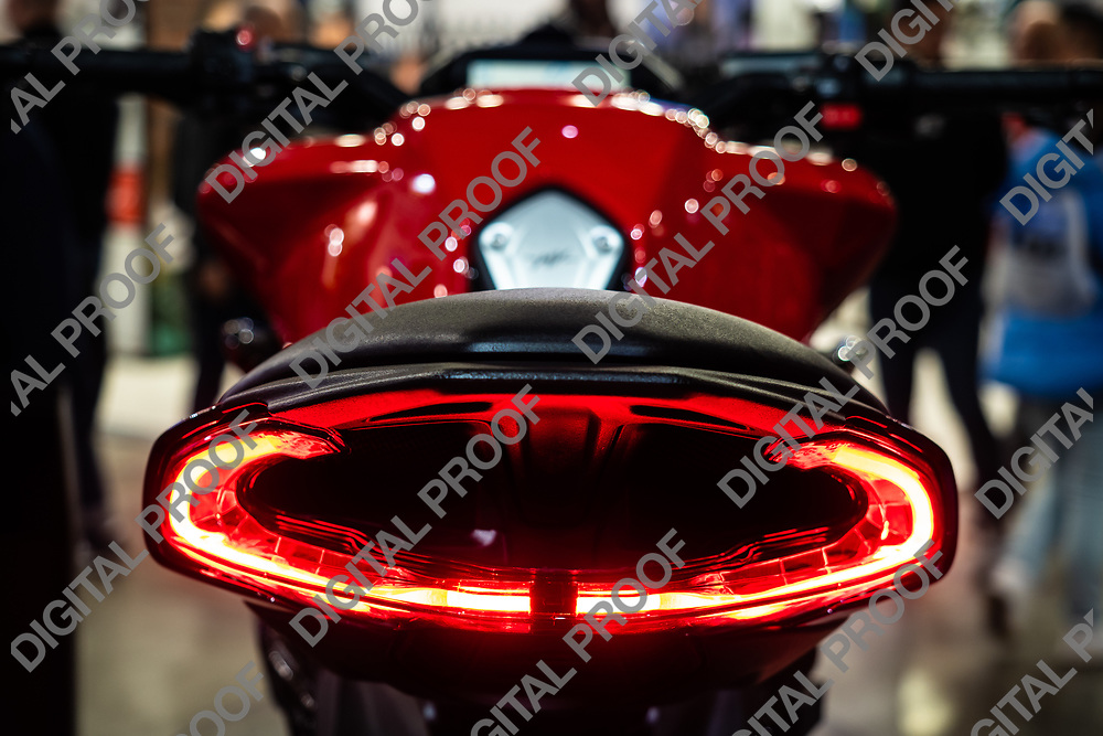 RHO Fieramilano, Milan Italy - November 07, 2019 EICMA Expo. Red Tail light from an specified motorcycle
