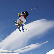 Amy Sheehan, New Zealand, in action during her second place finish in the Women's Halfpipe Finals during The North Face Freeski Open at Snow Park, Wanaka, New Zealand, 3rd September 2011. Photo Tim Clayto...