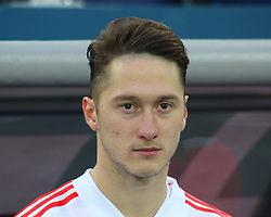 March 27, 2018 - Saint-Petersburg, Russia - Russian Federation. Saint-Petersburg. Arena Saint-Petersburg. Zenit-Arena. Football. Russia - France, Friendly match 1: 3. The football World Cup. The player of national team of Russia on football..Anton Miranchuk; (Credit Image: © Russian Look via ZUMA Wire)