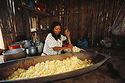 Machiguenga Indian mixing manioc for local brew<br />