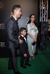 Real Madrid forward Cristiano Ronaldo, his pregnant girlfriend Georgina Rodriguez and his son Cristiano Ronaldo Jr arriving on the Green Carpet at the Best FIFA Football Awards at Palladium Theater, London, UK, on October 23, 2017. Photo by Henri Szwarc/ABACAPRESS.COM