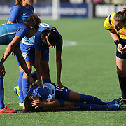 ORLANDO, FL - OCTOBER 25: Marta #10 of Brazil lies on the ground after a hard foul during a women's international friendly soccer match between Brazil and the United States at the Orlando Citrus Bowl on October 25, 2015 in Orlando, Florida. The United States won the match 3-1. (Photo by Alex Menendez/Getty Images) *** Local Caption *** Marta