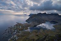 Coastal village of Å surrounded by mountains, Moskenesøy, Lofoten Islands, Norway