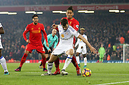 Billy Jones of Sunderland shields the ball from Roberto Firmino of Liverpool. Premier League match, Liverpool v Sunderland at the Anfield stadium in Liverpool, Merseyside on Saturday 26th November 2016.<br /> pic by Chris Stading, Andrew Orchard sports photography.