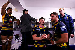 Sam Lewis and Darren Barry of Worcester Warriors celebrate beating Gloucester Rugby and securing Premiership Rugby status - Mandatory by-line: Robbie Stephenson/JMP - 28/04/2019 - RUGBY - Sixways Stadium - Worcester, England - Worcester Warriors v Gloucester Rugby - Gallagher Premiership Rugby