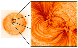 Newly released images of the Sun have revealed that its outer layer is filled with previously unseen, incredibly fine magnetic threads filled with extremely hot, million-degree plasma. The high-resolution observations have been analysed by researchers at UCLan alongside collaborators from NASA's Marshall Space Flight Centre (MSFC) and will provide astronomers with a better understanding of how the Sun's magnetised atmosphere exists, and what it is comprised of.<br /> <br /> Until now, certain parts of the Sun's atmosphere had appeared dark or mostly empty, but new images have revealed strands that are around 500km in width - roughly the distance between London and Belfast - with hot electrified gases flowing inside them.<br /> <br /> The ultra-sharp images were taken by NASA's High-Resolution Coronal Imager (or Hi-C for short), a unique astronomical telescope carried into space on a sub-orbital rocket flight. The telescope can pick out structures in the Sun's atmosphere as small as 70km in size, or around 0.01% the size of the Sun, making these the highest resolution images ever taken of the Sun's atmosphere. MORE COPY AVAILABLE: info@cover-images.com<br /> <br /> When: 05 Mar 2020<br /> Credit: UCLan/Cover Images<br /> <br /> **Editorial use only**