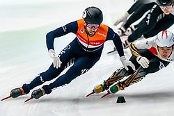 Daan Breeuwsma in action on the 1000 meter during ISU World Cup Finals Shorttrack 2020 on February 14, 2020 in Optisport Sportboulevard Dordrecht.