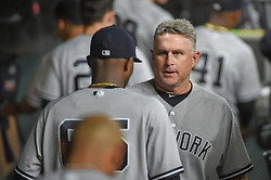 May 1, 2018 - Houston, TX, U.S. - HOUSTON, TX - MAY 01: New York Yankees Third Base Coach Phil Nevin (53) talks to New York Yankees pitcher Domingo German (65) during the baseball game between the New York Yankees and Houston Astros on May 1, 2018 at Minute Maid Park in Houston, Texas (Photo by Ken Murray/Icon Sportswire) (Credit Image: © Ken Murray/Icon SMI via ZUMA Press)