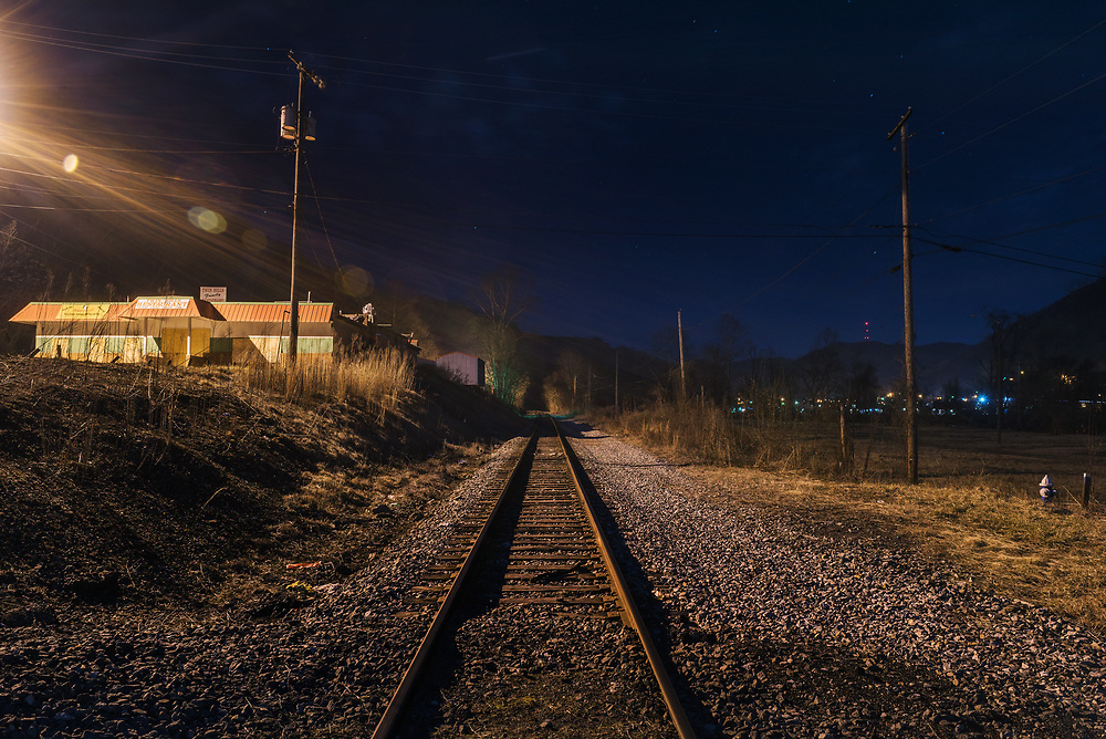 Railroad tracks in the direction of the Kanawha Valley are seen along Route 60 in Belle, West Virginia.