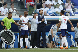 (L-R) Fabian Delph of England, coach Gareth Southgate of England, Jesse Lingard of England during the 2018 FIFA World Cup Russia group G match between England and Panama at the Nizhny Novgorod stadium on June 24, 2018 in Nizhny Novgorod, Russia