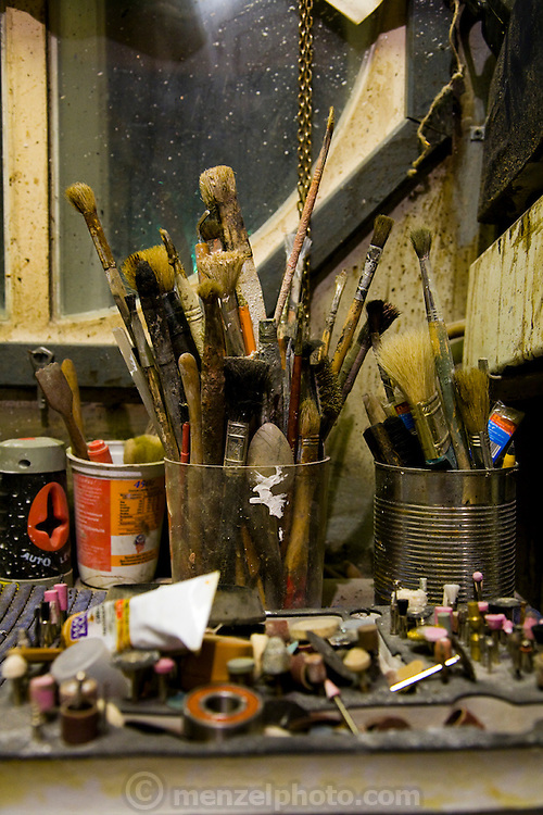 Art restorer Vyacheslav Grankovskiy's tools in his home studio in Schlisselburg, outside St. Petersburg, Russia. (Vyacheslav Grankovskiy is featured in the book What I Eat: Around the World in 80 Diets.)