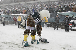 The Philadelphia Eagles mascot Swoop shovels snow on the sideline during the NFL game between the Detroit Lions and the Philadelphia Eagles on Sunday, December 8th 2013 in Philadelphia. (Photo by Brian Garfinkel)