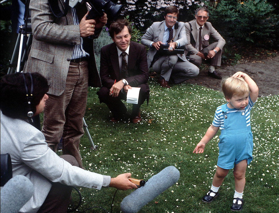 Prince William meets the press at a photo-call in the grounds of Kensington Palace,London in 1984. Photograph by Jayne Fincher