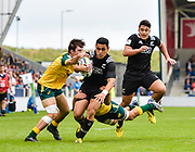 New Zealand fly-half Stephen Perofeta breaks a tackle during the World Rugby U20 Championship 5rd Place play-off  match Australia U20 -V- New Zealand U20 at The AJ Bell Stadium, Salford, Greater Manchester, England on Saturday, June  25  2016.(Steve Flynn/Image of Sport)