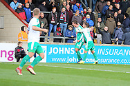 GOAL Plymouth Argyll defender Niall Canavan (14) scores with his head to make it 2-0 and celebrates  during the EFL Sky Bet League 1 match between Scunthorpe United and Plymouth Argyle at Glanford Park, Scunthorpe, England on 27 October 2018. Pic Mick Atkins